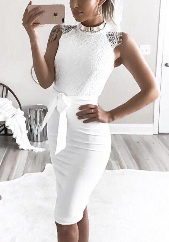 46b35314e56 Mi-longue robe avec dentelle noeud papillon ceinture moulante élégant de  soirée blanc