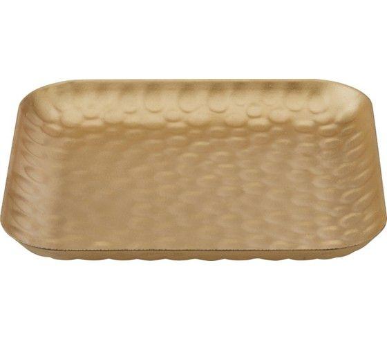 Dekoschale aus Metall in der Farbe Gold. L/B/H: ca. 16,5/16,5/1,5cm.
