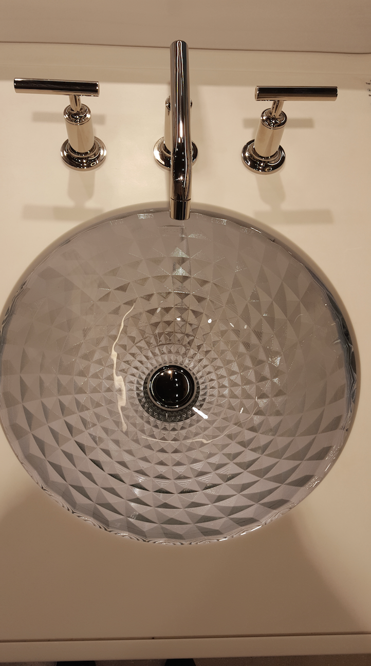 Bathroom faucet with a drop-in textured #bathroomsink ...