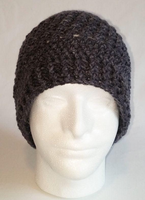 Gray Crochet Beanie Gray Cross Stitch Beanie by NellsCrochet ...