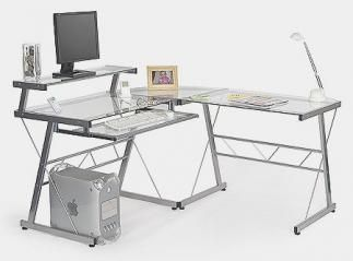 Escritorio para ordenador de cristal templado con bandeja for Mesa cristal ikea escritorio
