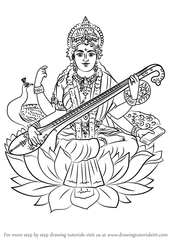 Learn How to Draw Saraswati (Hinduism) Step by Step
