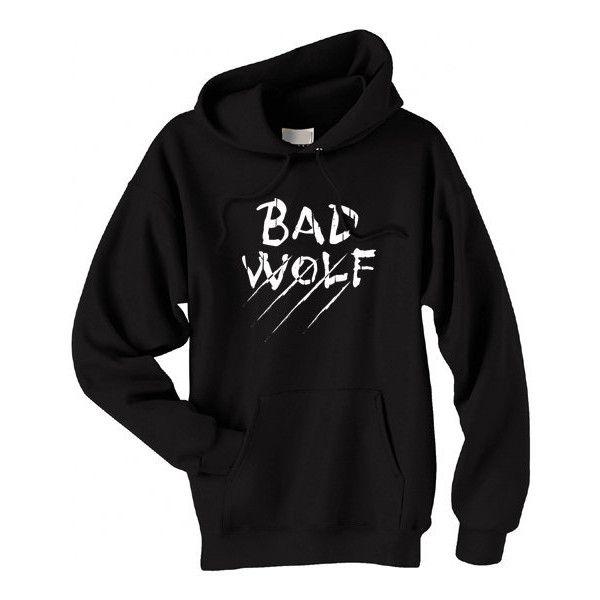 Bad Wolf Hoodie - werewolf big bad wolf sweatshirt gothic grunge (1.165 UYU) ❤ liked on Polyvore featuring tops, hoodies, sweaters, shirts, jackets, hoodie shirt, grunge shirts, gothic hoodie, goth hoodie and screen print shirts