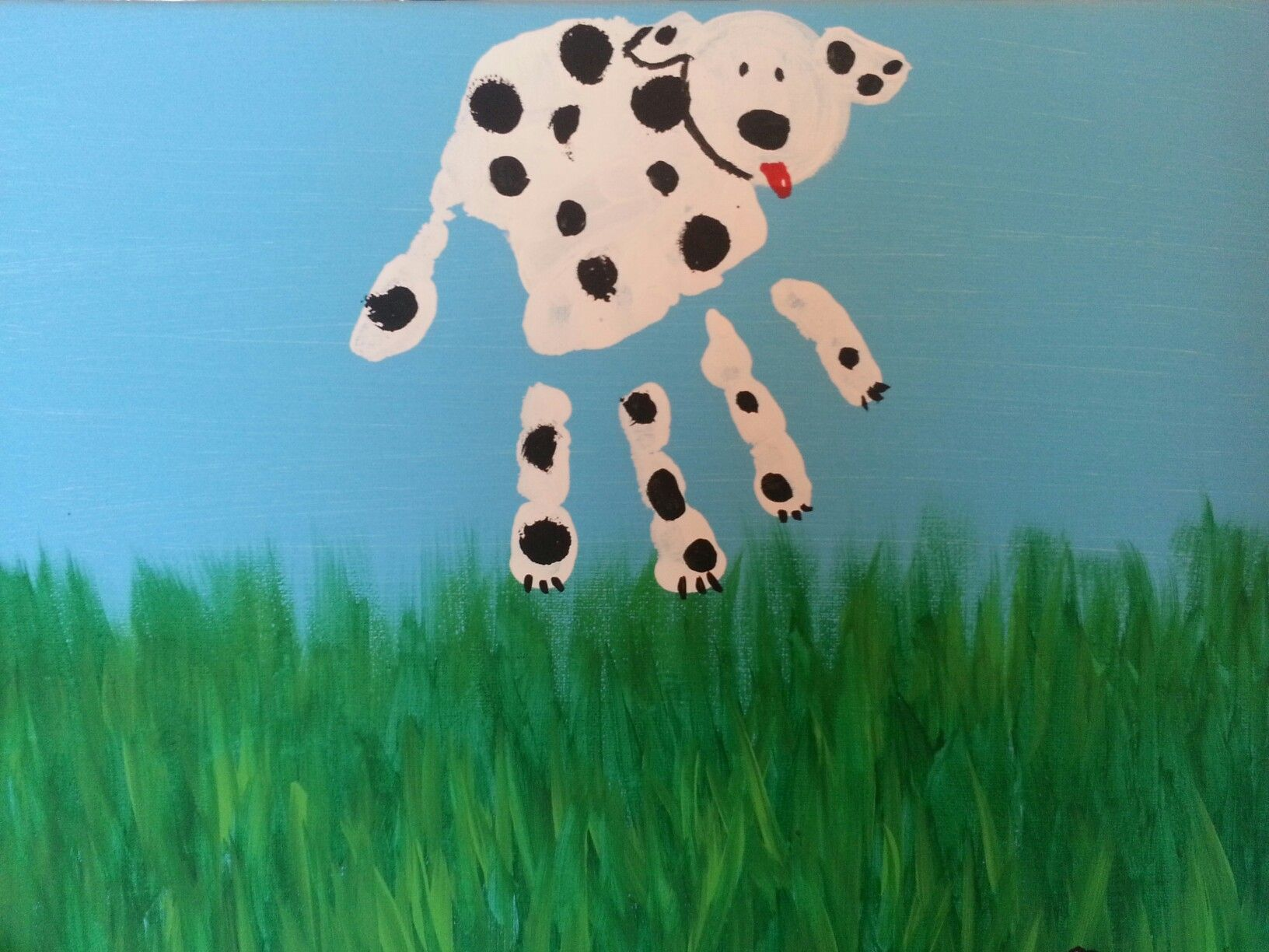 """Dalmatian"", handprint painting class, instructor sample"