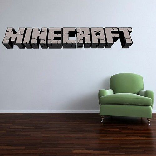 5 foot large minecraft logo vinyl wall decal kids room on wall logo decal id=17334