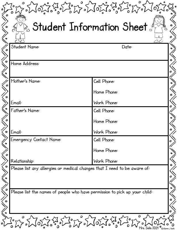 Student Information Sheet Freebie  Beginning