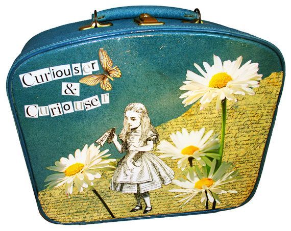 XMAS SALE - 20% OFF FULL PRICE Vintage Vanity Case upcycled with an Alice in Wonderland theme created using old magazines, old books and shop