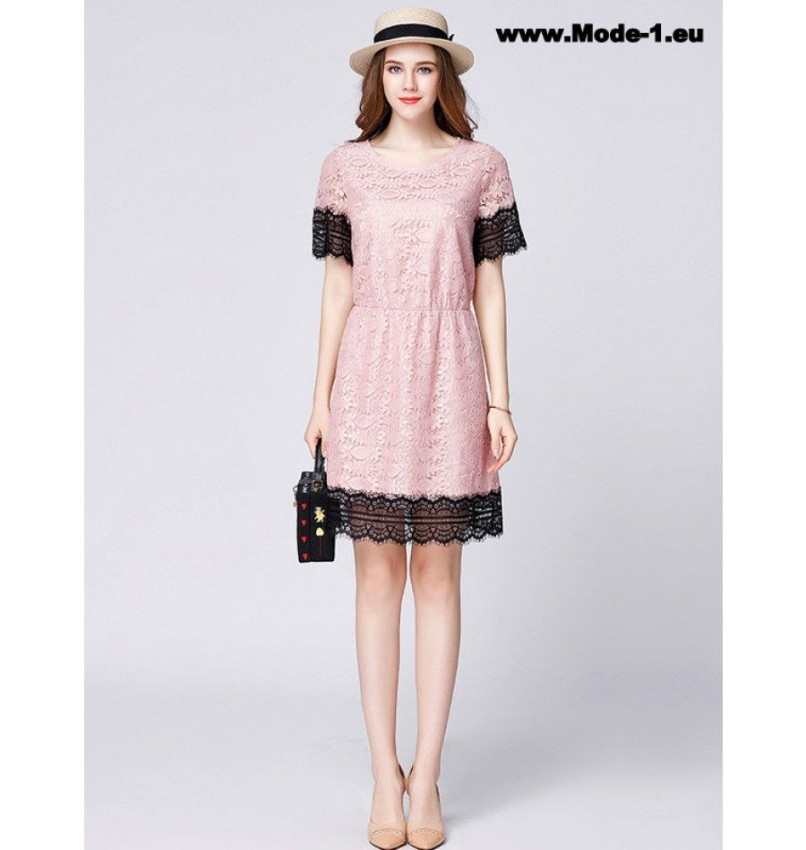 Damen Midi Sommerkleid mit Spitze Altrosa