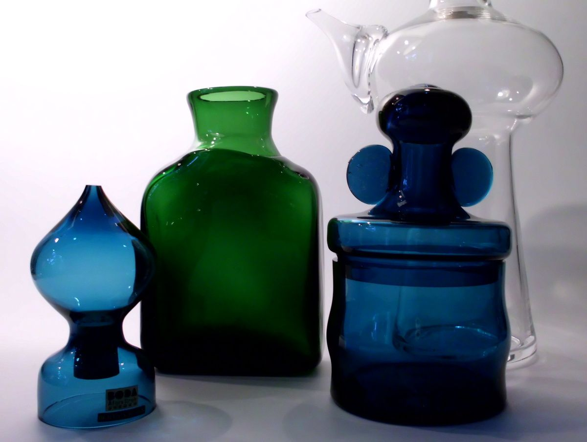 "Bertil Vallien ""Blå Serien"" (Blue Series) salt shaker and jar for Afors/Boda"