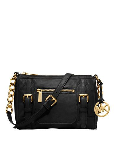 88375674680f Michael Michael Kors McGraw Leather Medium Messenger Bag Black ...