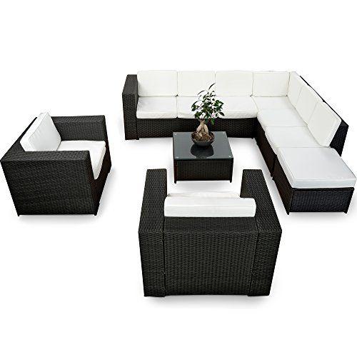 Polyrattan lounge sessel schwarz  XINRO XXXL 25tlg. Polyrattan Gartenmöbel Lounge Möbel günstig + 2x ...
