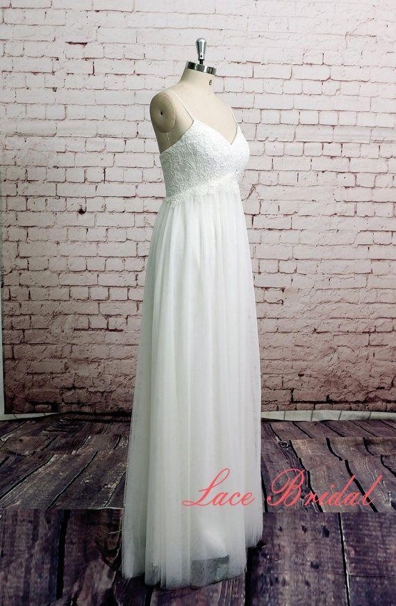 Spaghetti Straps Wedding Dress Tulle Skirt Bridal Gown Beach Style ...