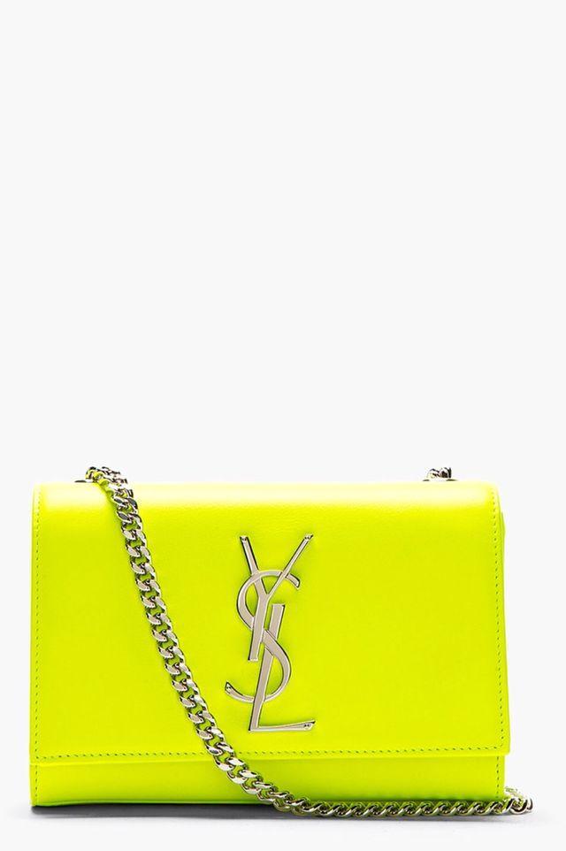 Saint Laurent  neon yellow leather monogram shoulder bag.  197edfdf3b206