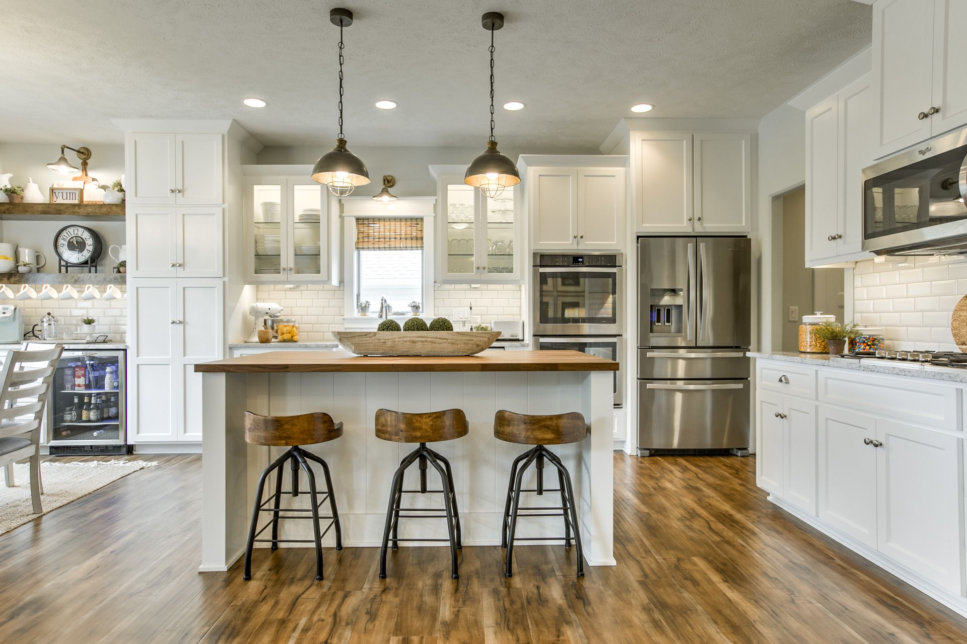 Modern farmhouse kitchen. Coffee bar with floating shelves