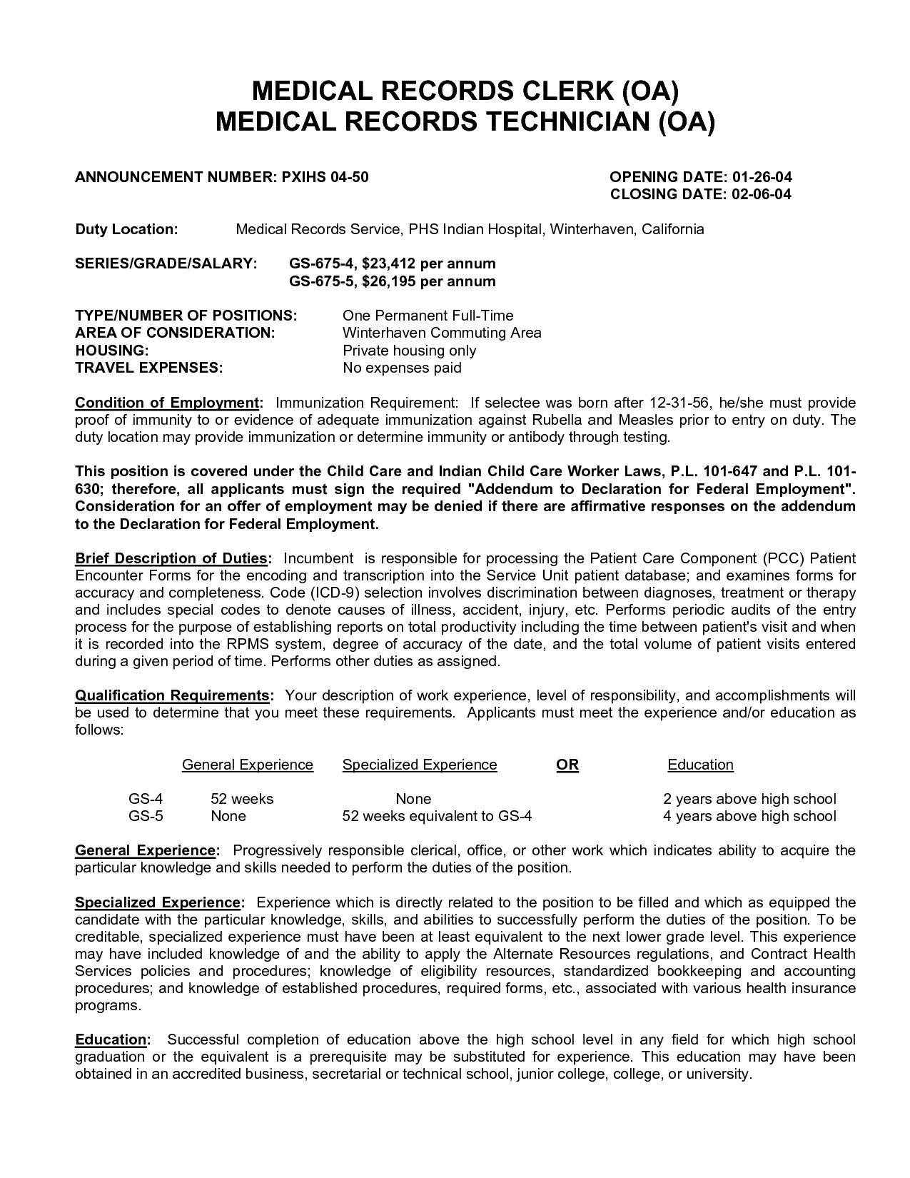 medical records clerk resume job description
