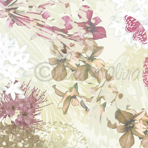 Orchids Damson - Interior Placement Prints ( Wall Art, Bedding