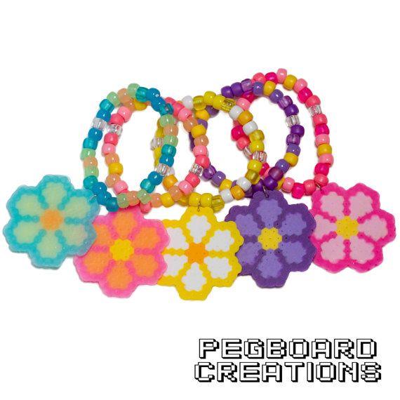 Custom EDC Daisy Flower Perler Kandi Bracelet by PegboardCreations