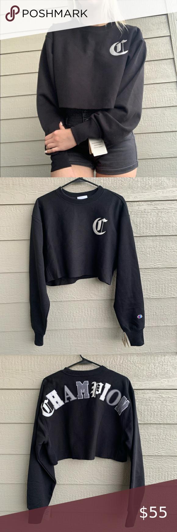 Champion Reverse Weave Cropped Sweatshirt Womens Grey Sweater Clothes Design Crop Sweatshirt [ 1740 x 580 Pixel ]