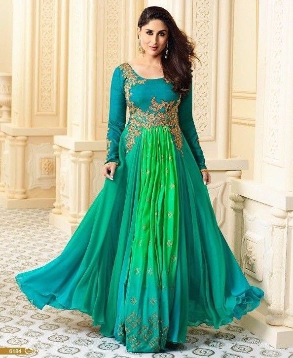Bollywood Indian Designer Party wear Gown Style Salwar Kameez Suit ...