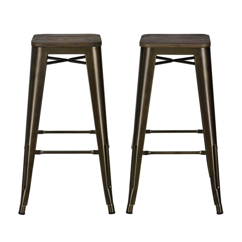 Wondrous Dhp Penelope 30 In Antique Bronze Bar Stool With Wood Seat Gmtry Best Dining Table And Chair Ideas Images Gmtryco