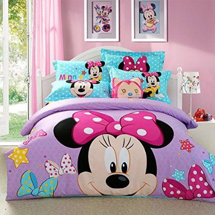 Cartoon Children Disney Mickey Mouse Printed Bed Quilt Cover 4PCS Bedding Set