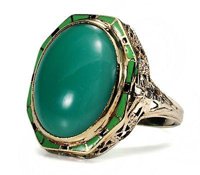Art Deco Dandy: Chrysoprase & Enamel Ring - The Three Graces