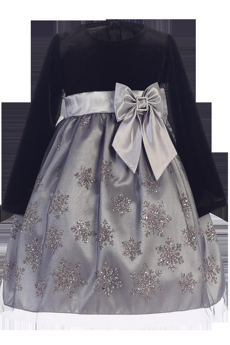 fa625840bb92 Silver Snowflake Girls Holiday Dress w. Long Sleeve Velvet 3m-10 ...