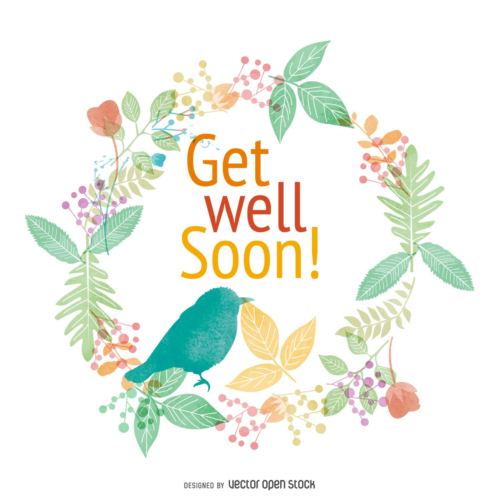 Get Well Soon Watercolor Card Design Featuring Flowers And Birds