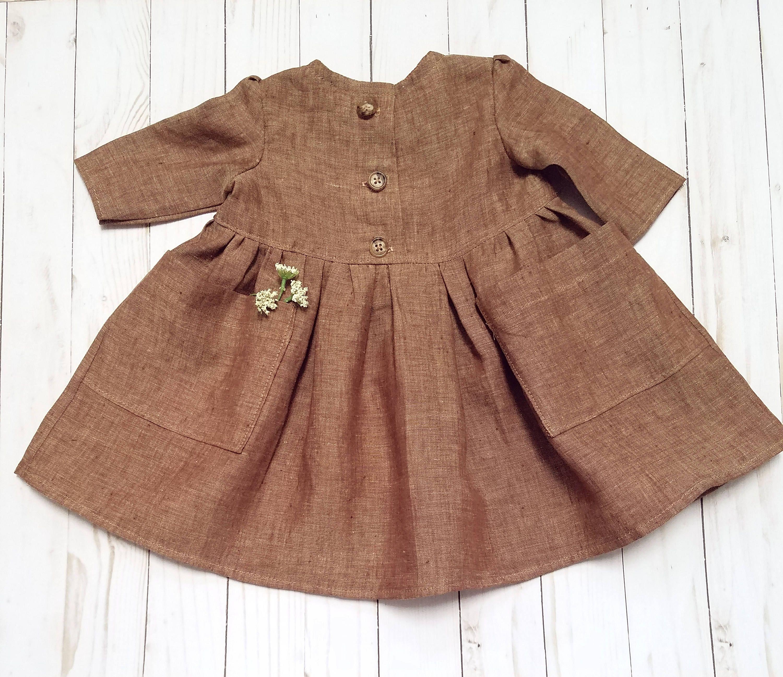 Baby Girls Boho Linen Dress-Baby Boho Dress-Girls Linen Dress-Girls Pocket  Dress-shabby chic-vintage baby-Linen Baby clothes-sz NB-18 24mth by ... 3fd449dafc1b7