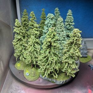 Mossy Rock - War Gaming Terrain, Fully Flocked and Painted