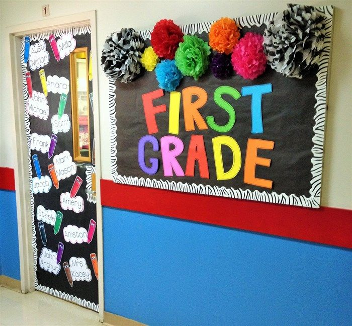 Classroom Decoration Colorful ~ A colorful back to school welcome wall door display