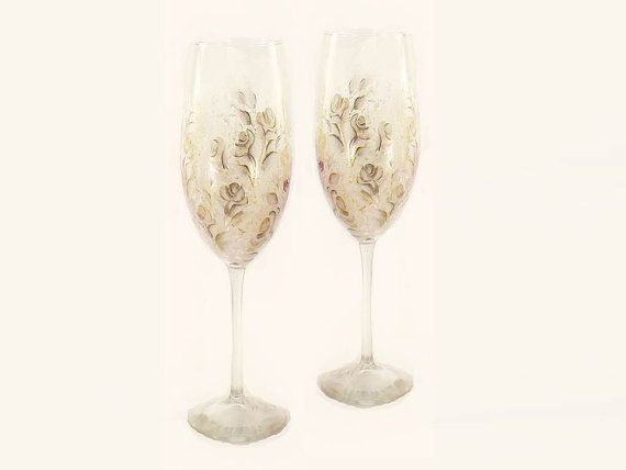 Hand painted wedding anniversary toasting flutes ivory roses with