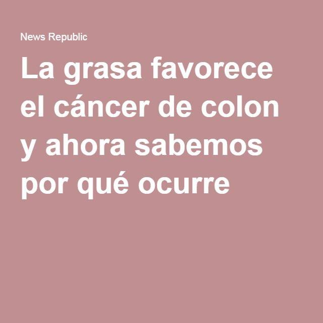 La grasa favorece el cáncer de colon y ahora sabemos por qué ocurre