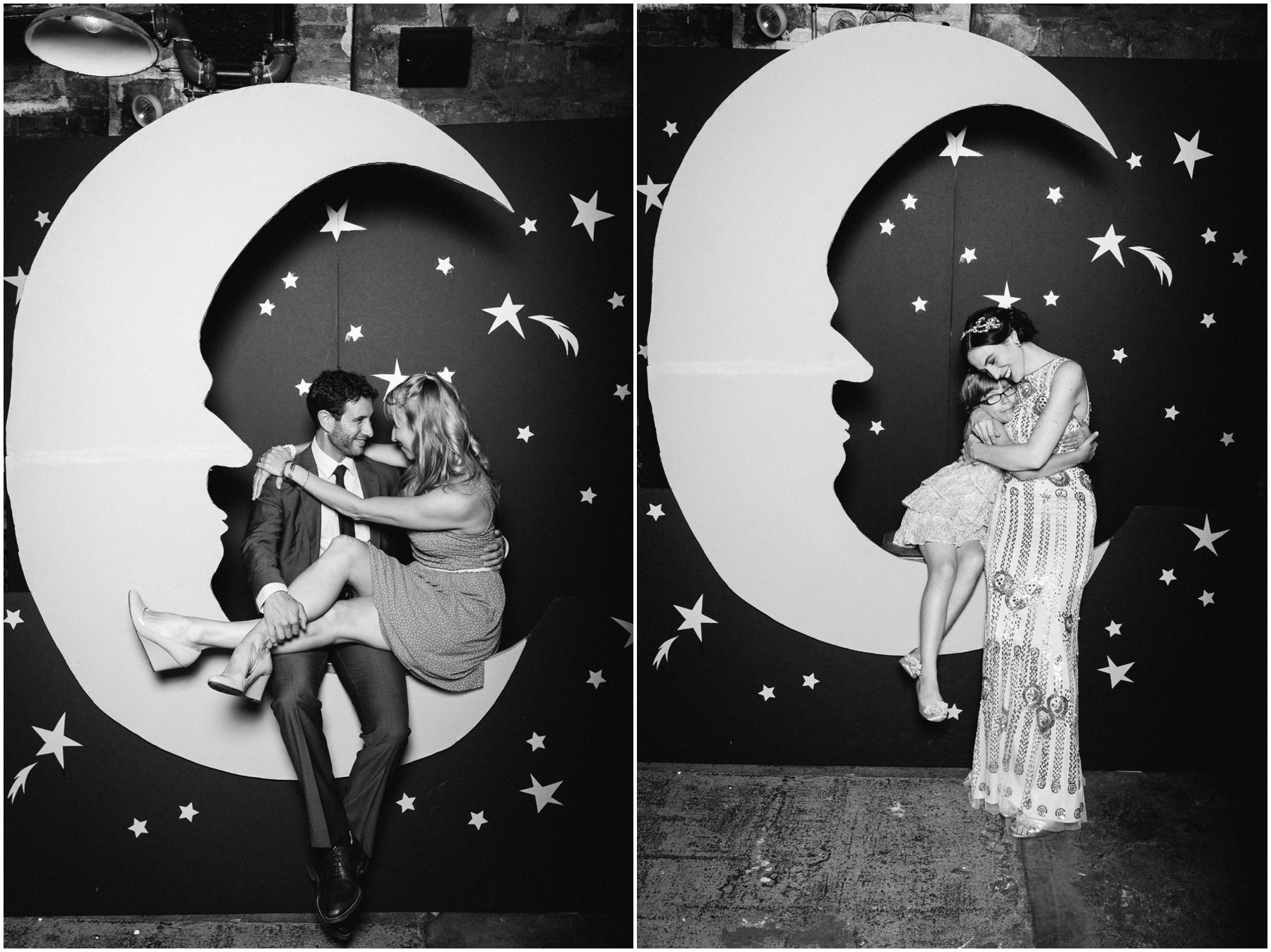 to the moon and back.  photo-booth moon backdrop