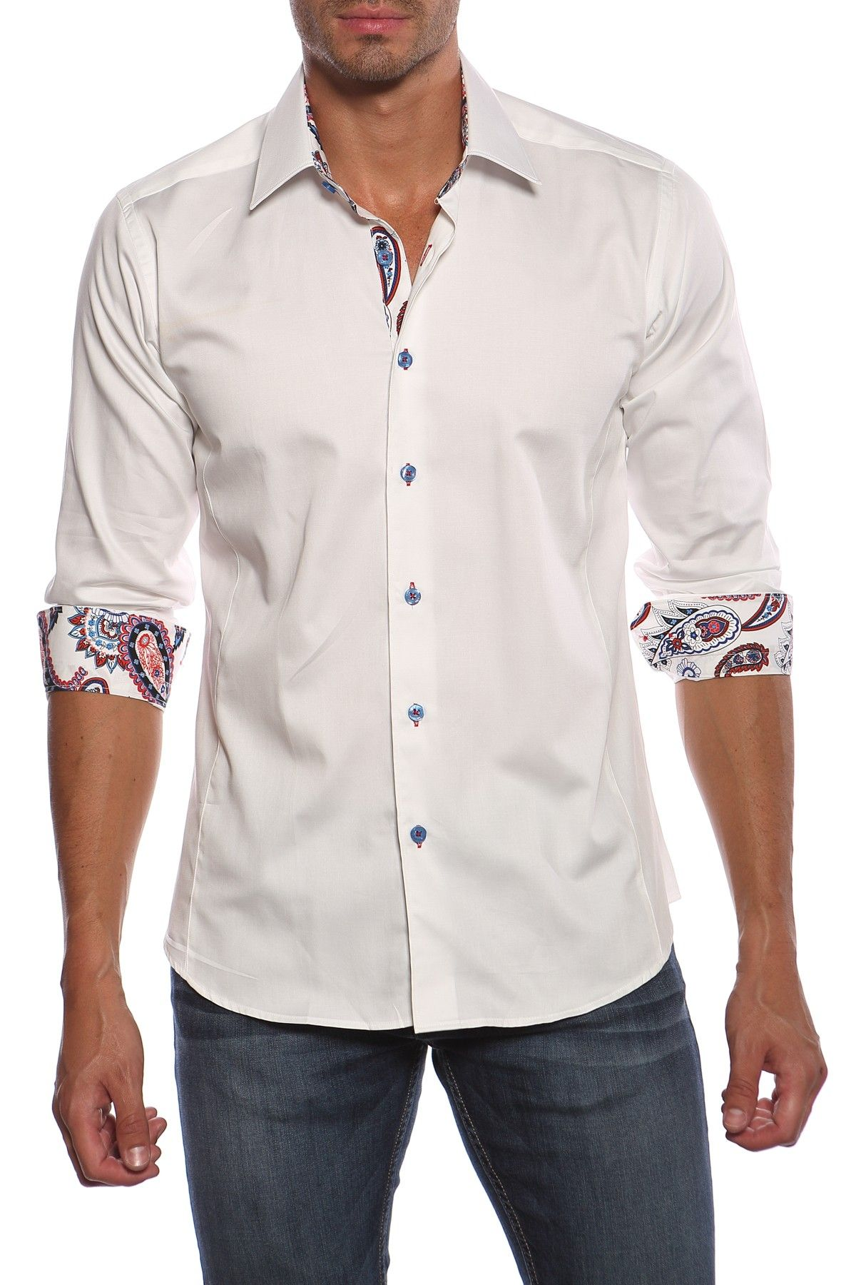 Long Sleeve Paisley Trim Shirt by Jared Lang on @HauteLook