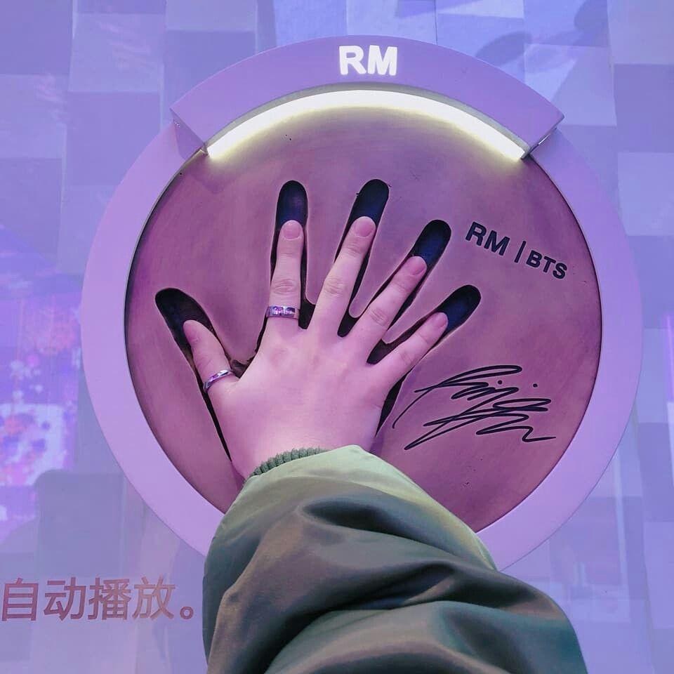 Awww Look How Cute And Small Jimin S Hand Compar Eto Rm S Handprint Bts Merch Bts Fans Bts Boys