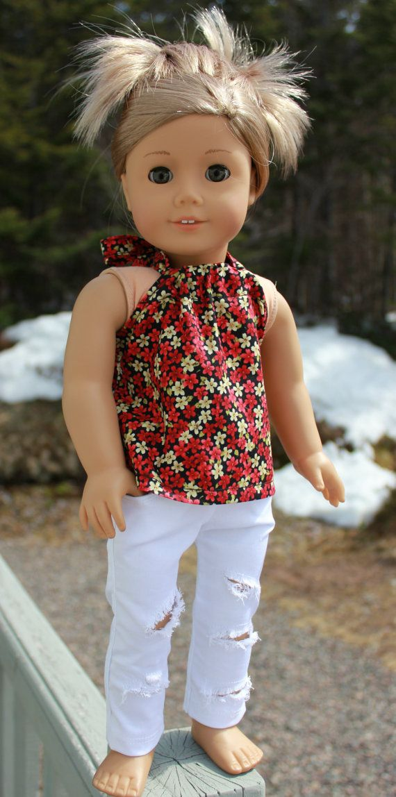 18 inch doll clothes,black floral halter top , white ripped skinny ...