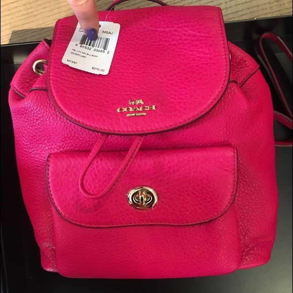Hot Pink Coach Backpack Nwt Super Bright With Pockets Never Used Adjule Straps And Keychain Bags Backpacks