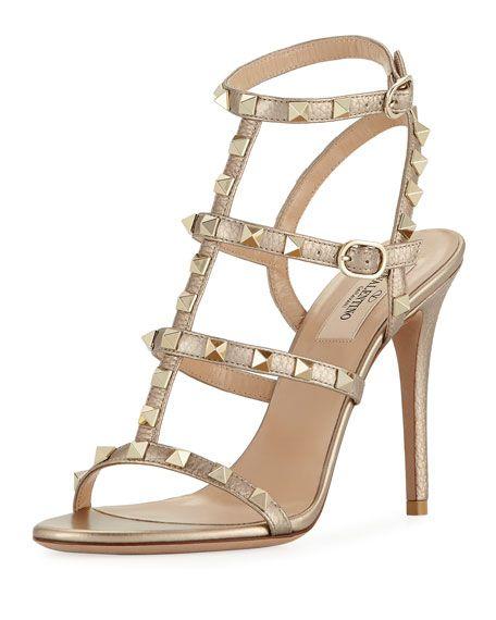 a3aac29482340 VALENTINO Rockstud Metallic Leather 105Mm Sandal, Metallic Skin. #valentino  #shoes #