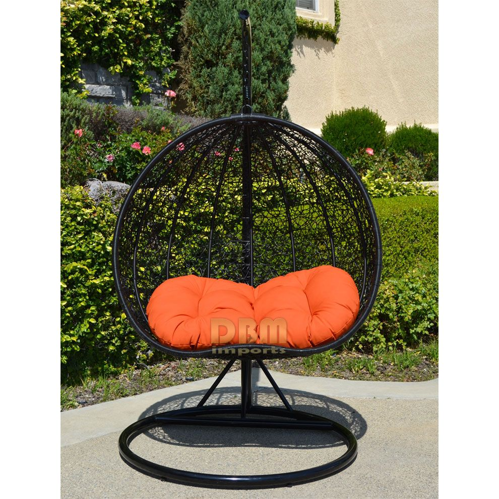 2 Persons Seater Bird Egg Nest Wicker Rattan Swing Lounge Chair Hanging  Hammock In or Out Door Patio Porch - Black / Orange - BRAND NEW Egg shape  Wicker ... - 2 Persons Seater Bird Egg Nest Wicker Rattan Swing Lounge Chair
