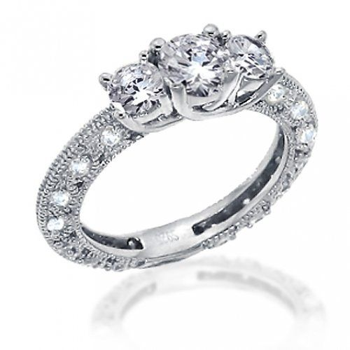 Vintage engagement diamond rings | Bling Jewelry Vintage Round Cut CZ Sterling Silver Engagement Wedding Ring 1.25 carats Size 9