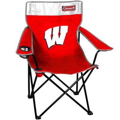Coleman Wisconsin Badgers Quad Folding Chair - Cardinal/White  #Ultimate Tailgate #Fanatics