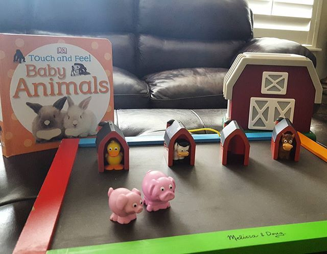 Tot School...Farm Unit. Today we are talking about baby animals. We matche the mama farm animal to their baby using the Learning Resources barn.
