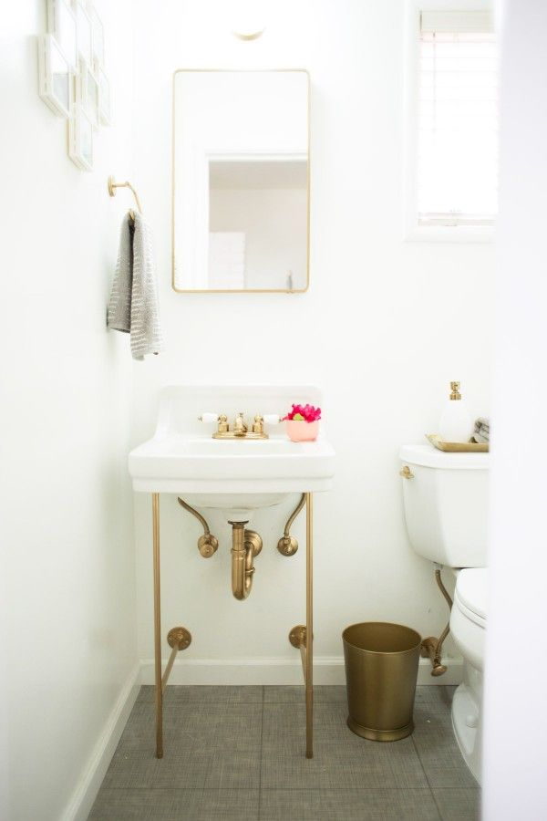 A DIY Pedestal Sink With Gold Legs!