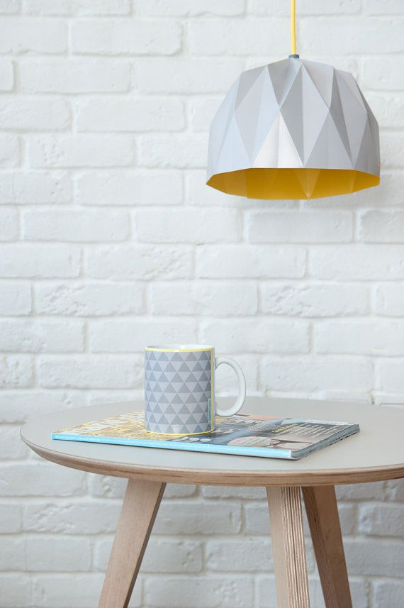 Photo of Items similar to Small Origami Lamp, grey hanging lampshade, paper designed lampshade on Etsy