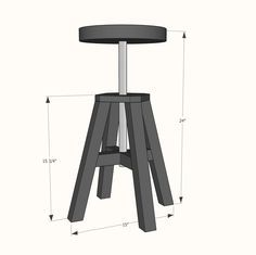Ana White | Adjustable Height Wood And Metal Stool   DIY Projects