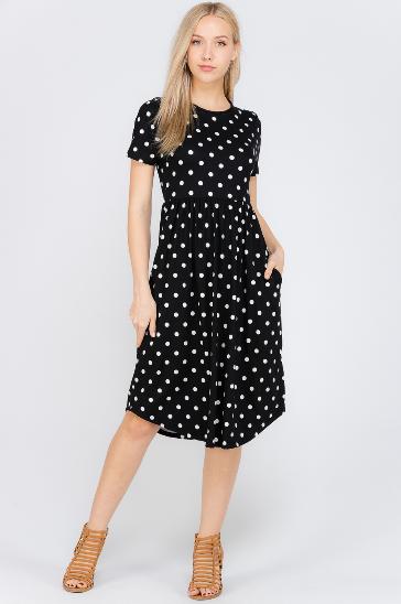 48e5b73b922 Black Polka Dot Midi Dress - Juniors in 2019 | Dressymsnia | Dresses ...