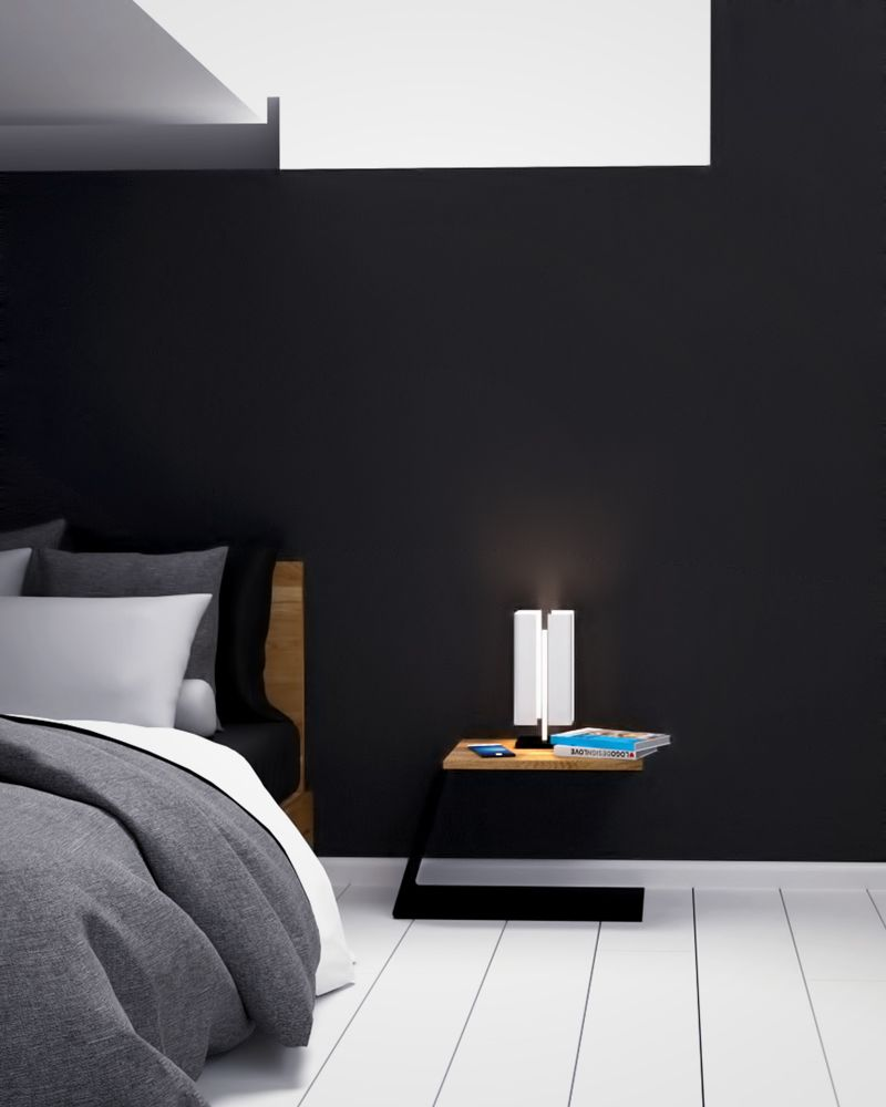 Design Nachttisch Modern Schwarz Weiss Holz Metall Joy Manhattan