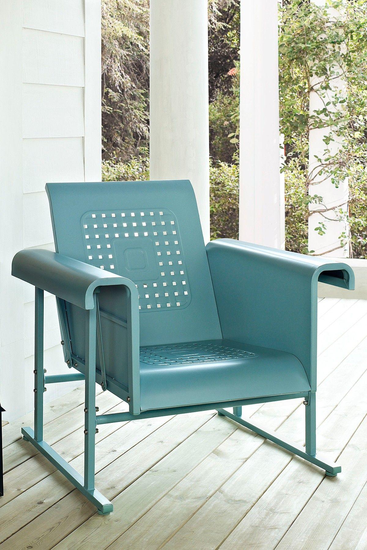 Crosley Outdoor Furniture Caribbean Blue Veranda Single Glider Chair Glider Chair Patio Rocking Chairs Outdoor Chairs