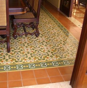Cement Tile Flooring With Pattern In Formal Dining Room